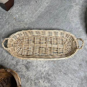 Boho Wicked Basket Tray with Handles